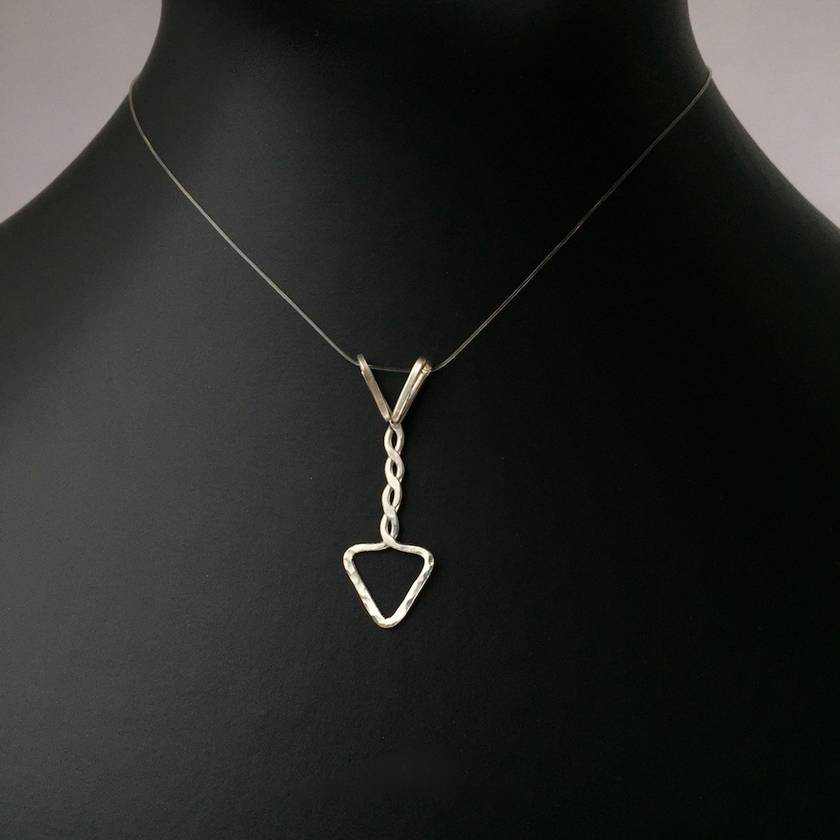 Mens Sterling Silver Twisted Arrow Pendant