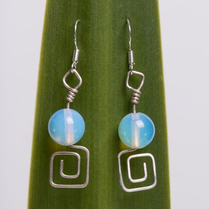 Moonstone and Square Spiral Eco Sterling Silver Earrings
