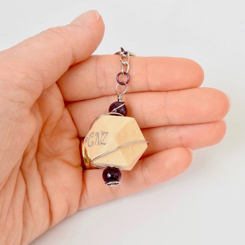 Geometric Wood Key Ring with Amethyst Stones wire-wrapped in Stainless Steel