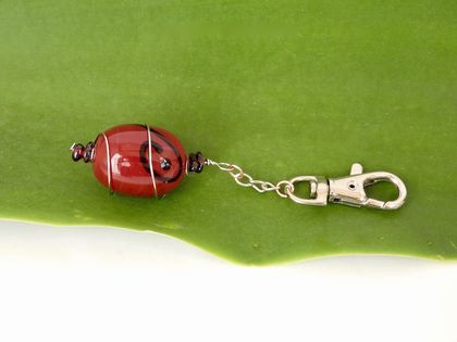 Garnet and Red Glass Keyring wire-wrapped in Stainless Steel OOAK