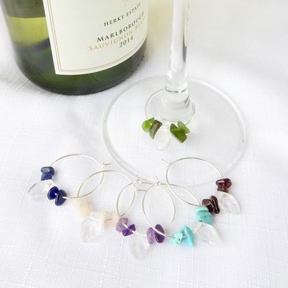 Wine Glass Charms with Semi Precious Stones - Set of 6