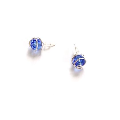 Large Blue Swarovski Crystal Stud Earrings, spiral wrapped in eco Sterling Silver