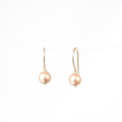 Small Drop Sleeper Earrings with Pink Champagne Swarovski Pearls in Eco Sterling Silver