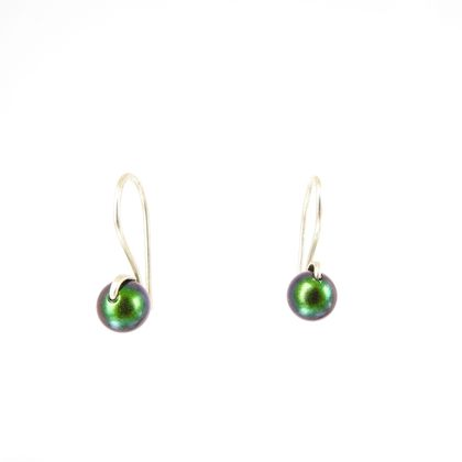 Emerald Green Swarovski Pearl Sleeper Earrings in Eco Sterling Silver