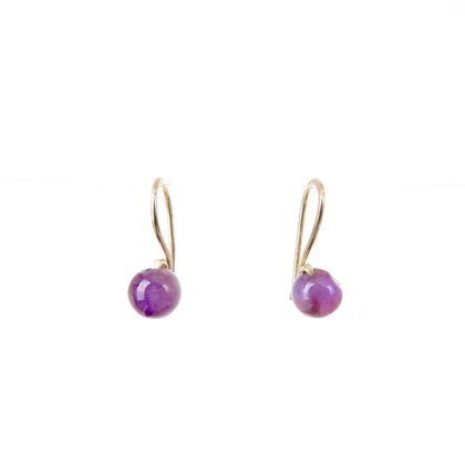 Eco Sterling Silver Sleeper Drop Earrings with Amethyst Stones