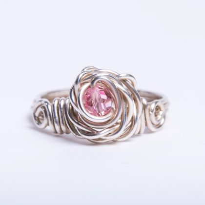 Rose Ring with Pink Swarovski Crystal, made in recycled Sterling Silver