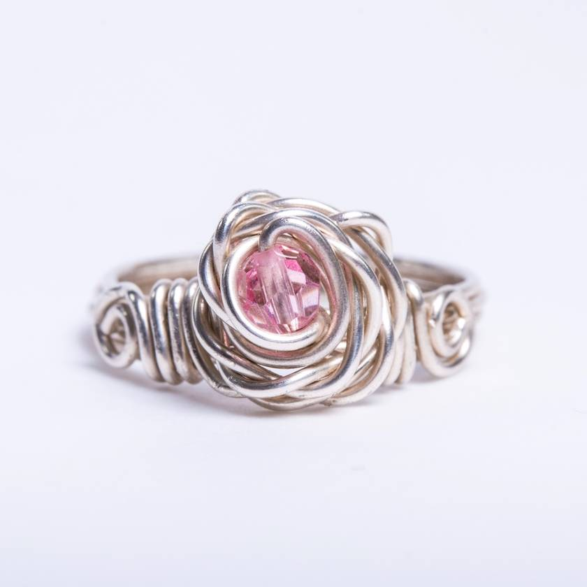 4bb7713d1 Rose Ring with Pink Swarovski Crystal, made in recycled Sterling Silver    Felt