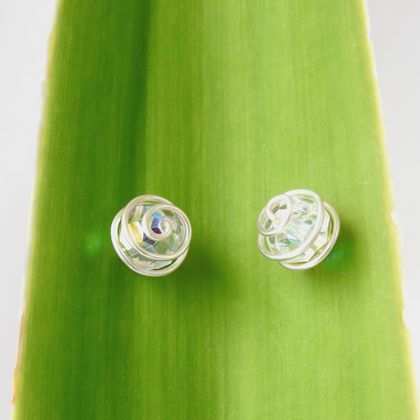 Large Spiral Wrapped Clear AB Swarovski Crystal Stud Earrings