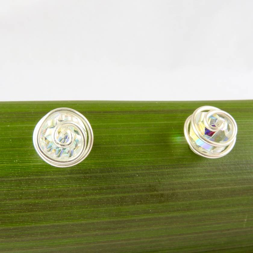 Clear AB Swarovski Crystal Spiral Wrapped Stud Earrings in Eco Silver