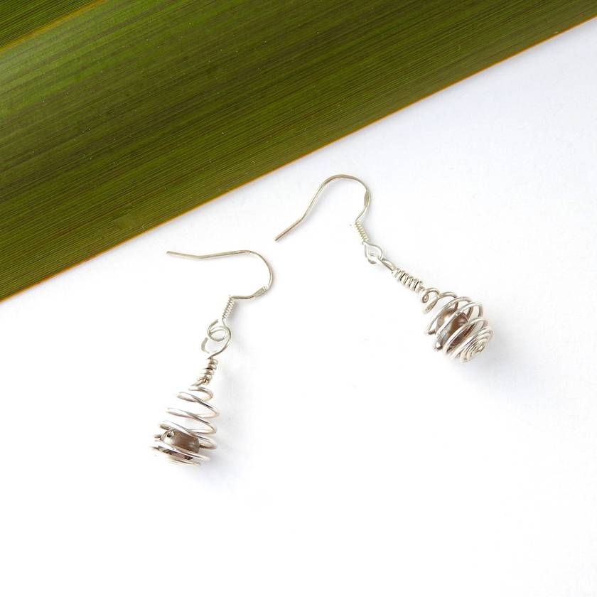 Small Spiral Cage Eco Earrings with Black Freshwater Pearl