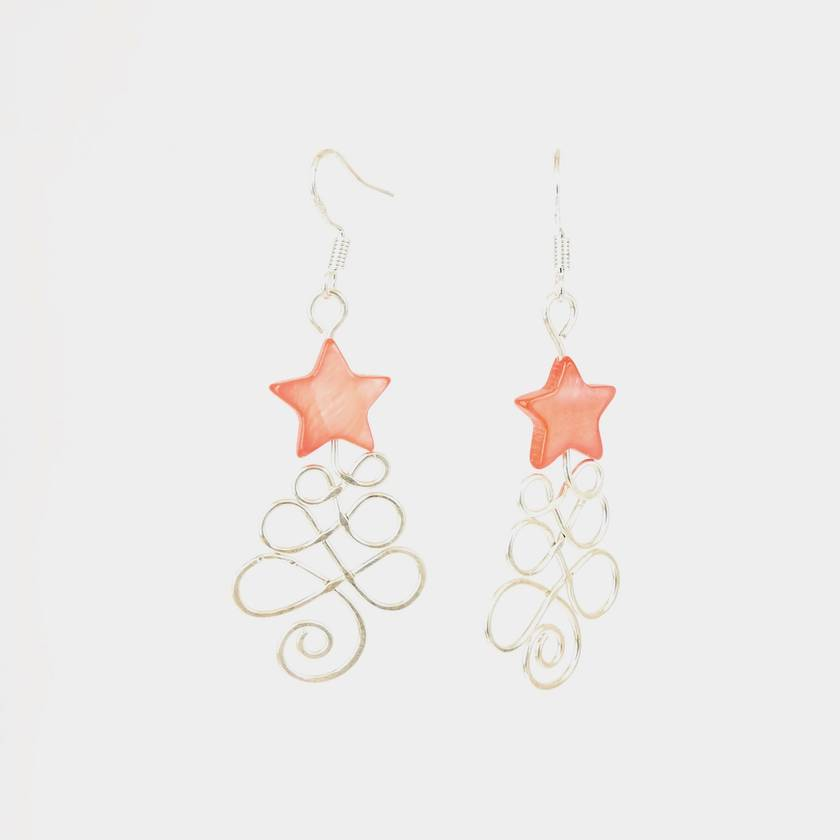 Christmas Tree Earrings in Eco Sterling Silver with Red Mother of Pearl Star