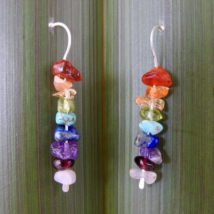 Sterling Silver Rainbow Drop Earrings with Semiprecious Stones