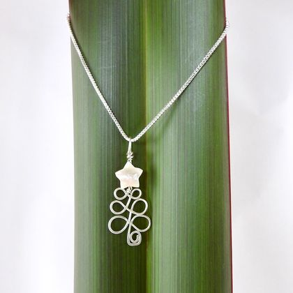 Christmas Tree Necklace in eco Sterling Silver wire with Ivory Mother of Pearl Star