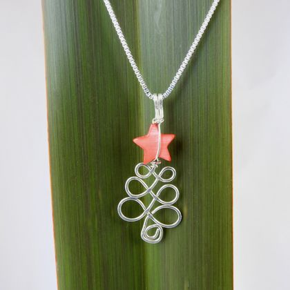 Christmas Tree Necklace in eco Sterling Silver wire with Red Mother of Pearl Star