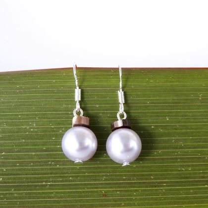 Christmas Bauble Earrings - Silver Swarovski Pearls