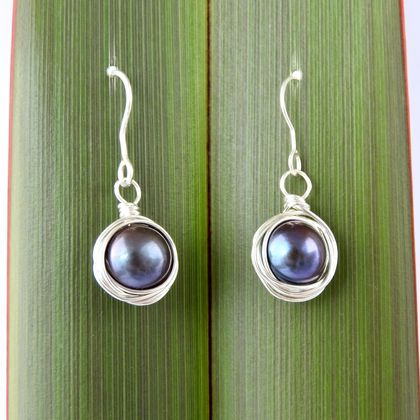 Eco Sterling Silver Wire Wrapped Black Pearl Earrings