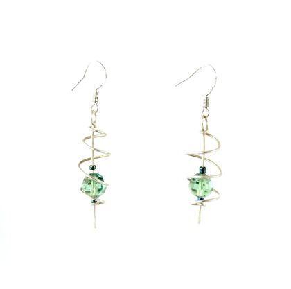 Open Cage Spiral Swarovski Crystal Earrings - Erinite
