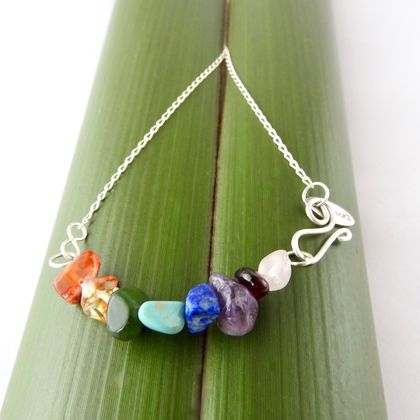 Rainbow Smile Necklace with Semi-Precious Gemstones