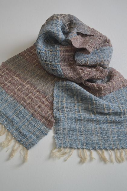 Natural dyed Silk, Wool and Angora Scarf
