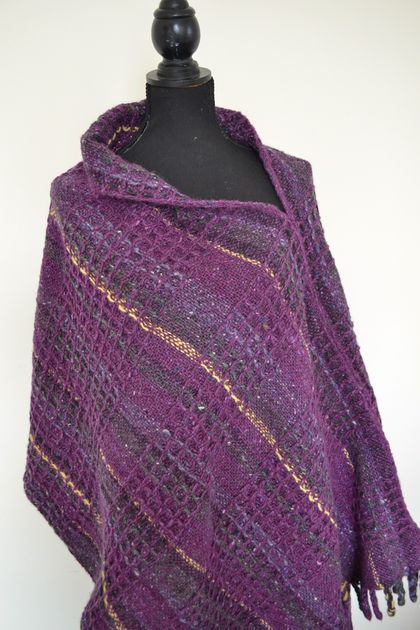 Hand woven Donegal Tweed Lupin Poncho