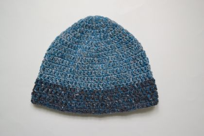 Kingfisher and grey crocheted hat