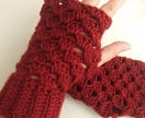 FeltAid Red Fingerless Crocheted Gloves