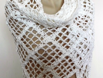 White Cotton Lacy Shawl