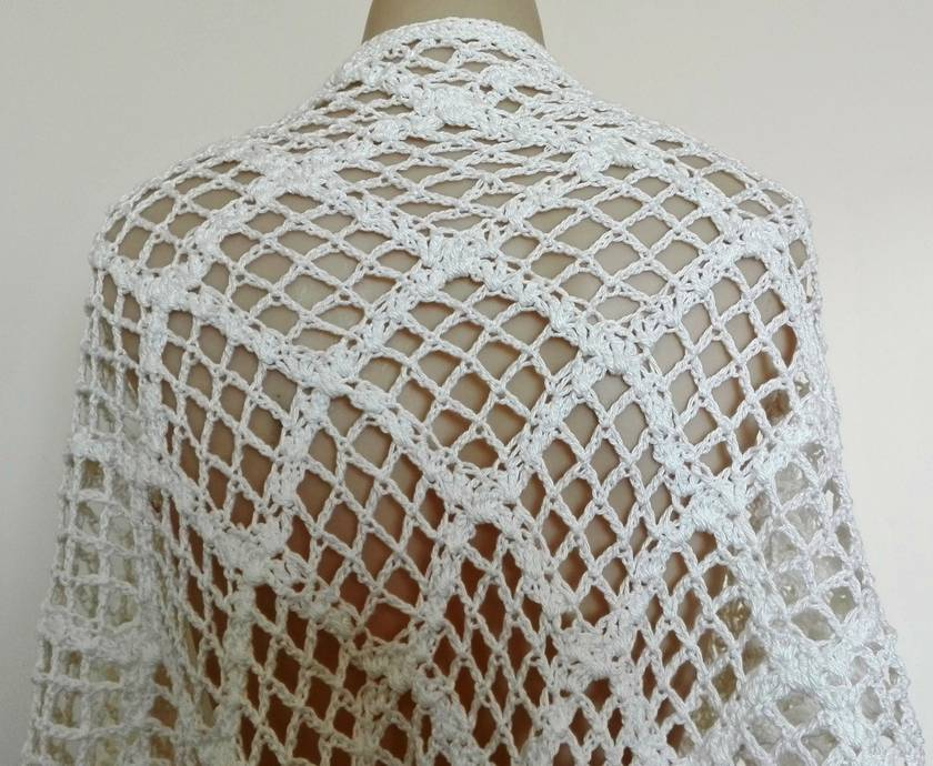 White Cotton Lacy Shawl