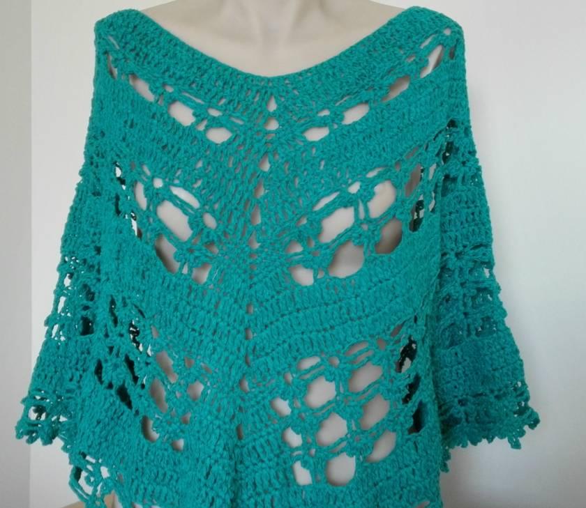 Aqua Cotton Crochet Poncho