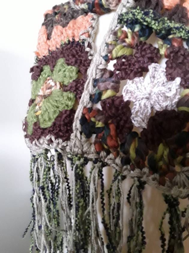 In the woods. Granny square scarf