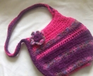 Purple Crochet and Felted Hand bag