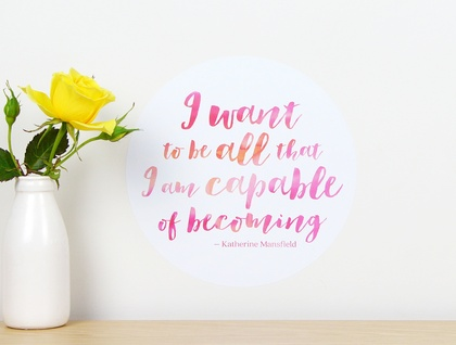 I want to be all that I am capable of becoming quote dot wall decal – small