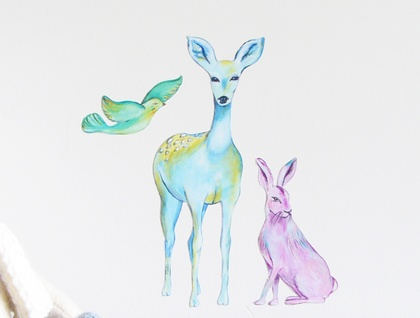Deer hare and bird woodland wall decal – small