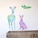 Deer hare and bird woodland wall decal – medium