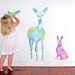 Deer hare and bird woodland wall decal – medium wall mural