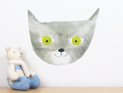 Grey cat wall decal – medium