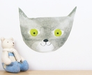 Grey cat wall decal – medium