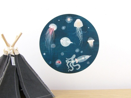 Lumo wall decal – small | jellyfish and octopus wall decal