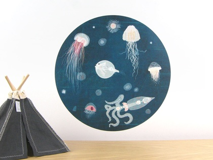 Lumo wall decal – medium | jellyfish and octopus wall decal