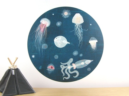 Lumo wall decal – large | jellyfish and octopus wall decal