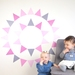 Dusky pink triangles – reusable fabric wall decal