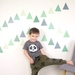 Jungle green triangles – reusable fabric wall decal