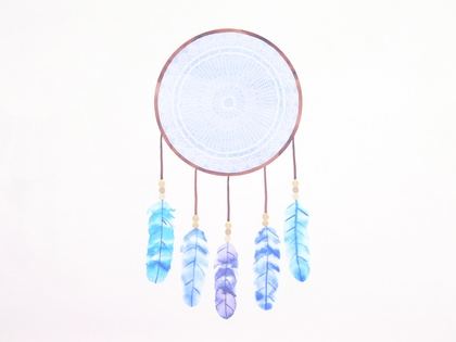 Dreamcatcher Blue wall decal medium
