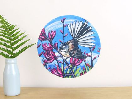 Fantail in Harakeke small dot wall decal by Ira Mitchell-Kirk