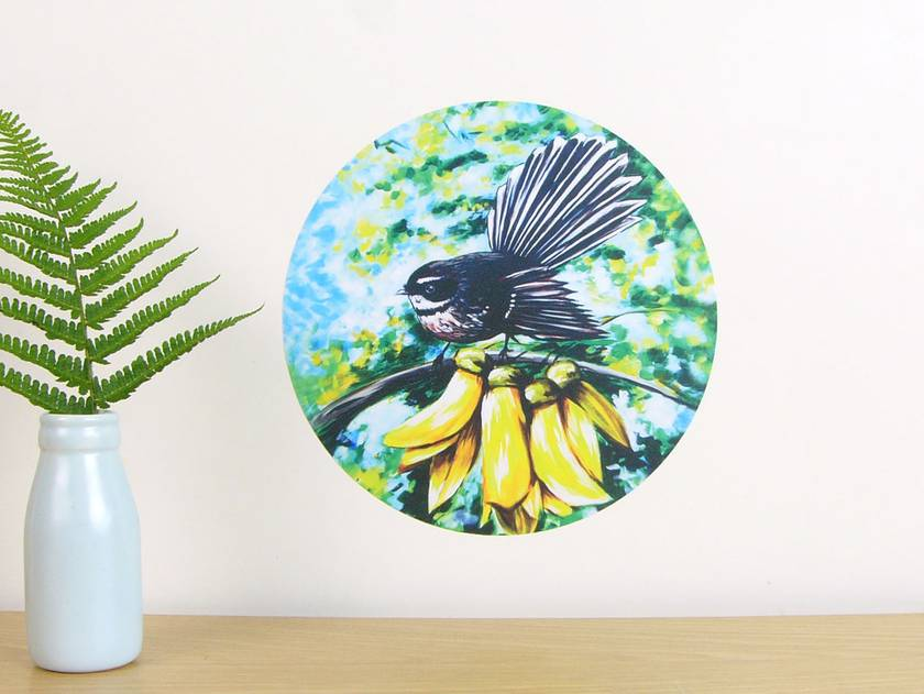 Fantail in Kowhai small dot wall decal by Ira Mitchell-Kirk