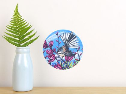 Fantail in Harakeke tiny dot wall decal by Ira Mitchell-Kirk