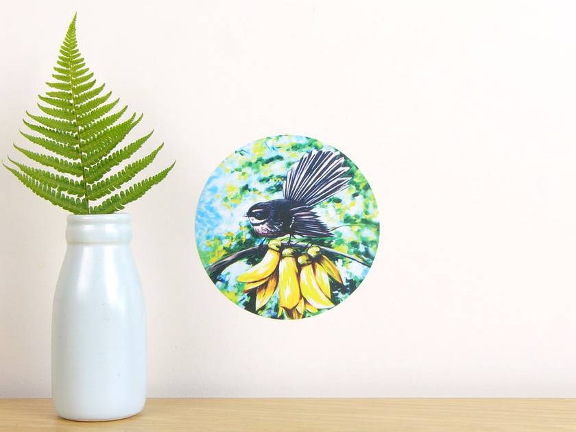 Fantail in Kowhai tiny dot wall decal by Ira Mitchell-Kirk