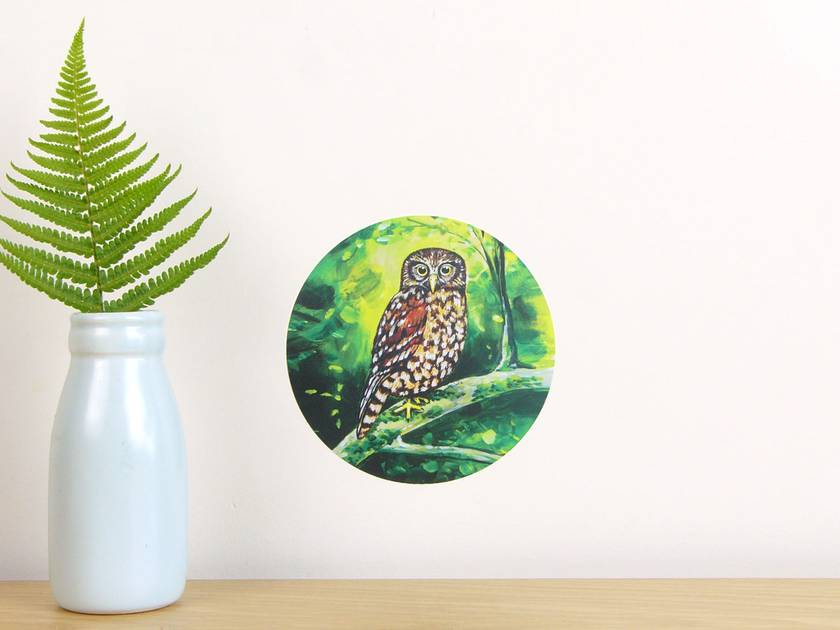 Morepork tiny dot wall decal by Ira Mitchell-Kirk