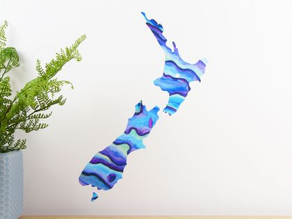 Paua New Zealand map wall decal – small
