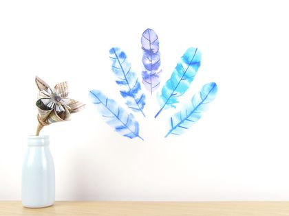 Blue feathers wall decal small